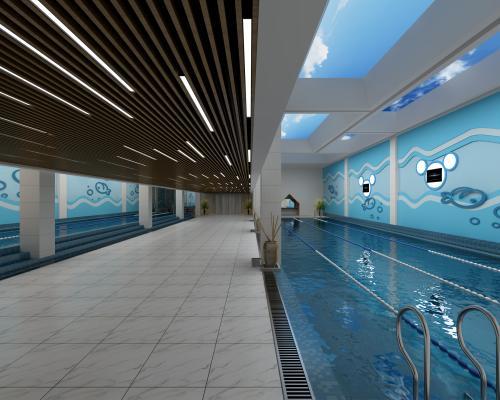 现代游泳馆 泳池 吊顶