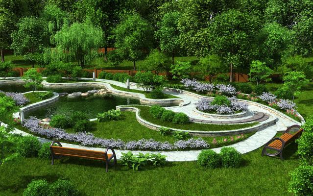 现代公园景观绿化 景观树 景观花草