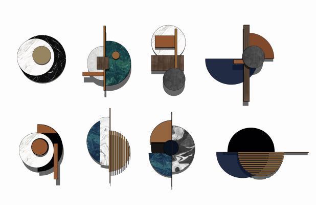 现代轻奢圆形墙饰挂件