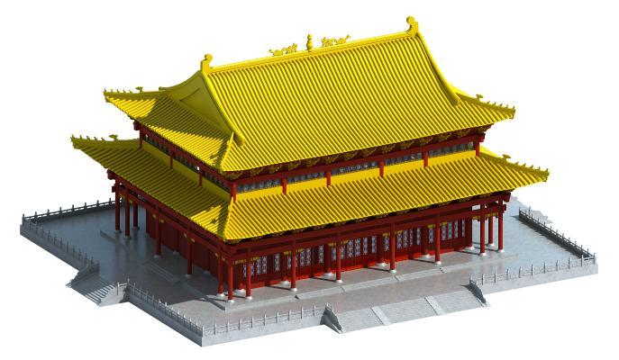 中式风格建筑 古建 大雄宝殿 佛寺
