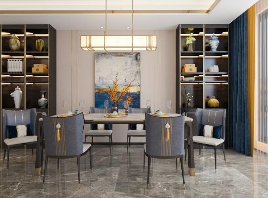 新中式轻奢客餐厅 餐桌