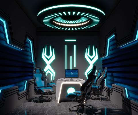 现代网吧 包厢 电竞桌椅 沙发 凳子 霓虹灯