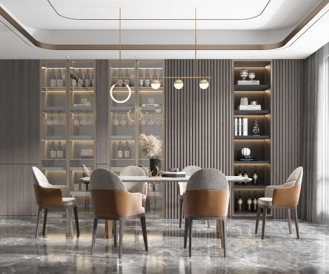 现代餐厅 餐桌 餐椅