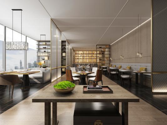 新中式酒店餐厅 吊灯 桌椅