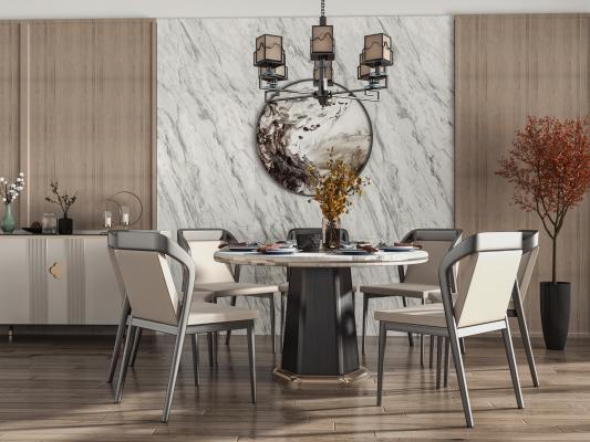 新中式餐厅 餐桌椅 酒柜