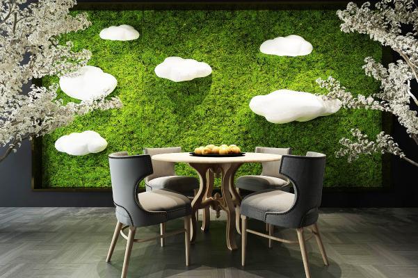 植物墙餐桌椅树木花卉白云灯