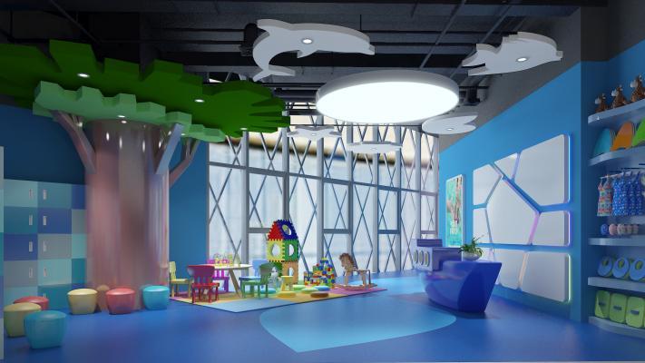 现代儿童水育中心儿童早教幼儿园 幼儿园前厅 前台