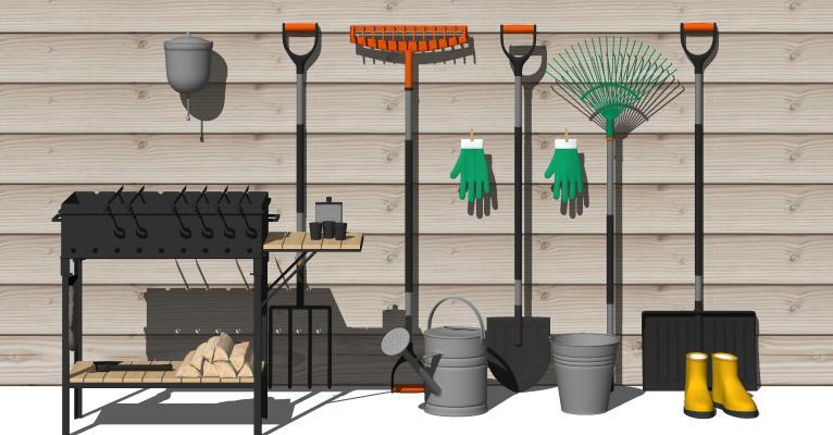 现代农用工具 烧烤架 水桶