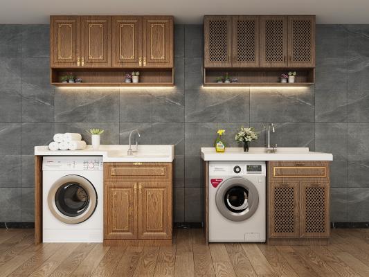 新中式洗衣机柜