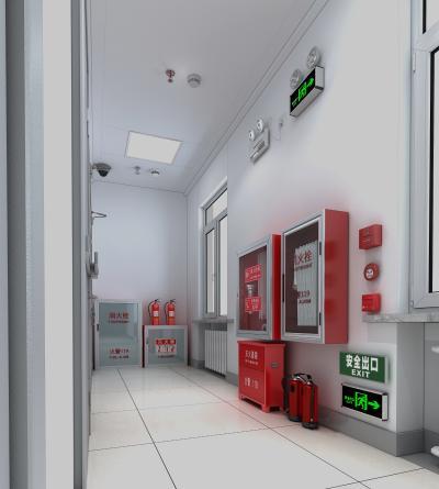 现代消防过道 消防栓 灭火器 安全疏散指示灯