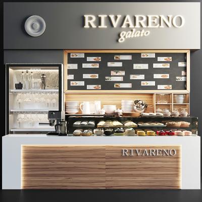 现代吧台 展柜 面包 咖啡机