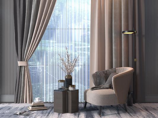 现代休闲椅 窗帘