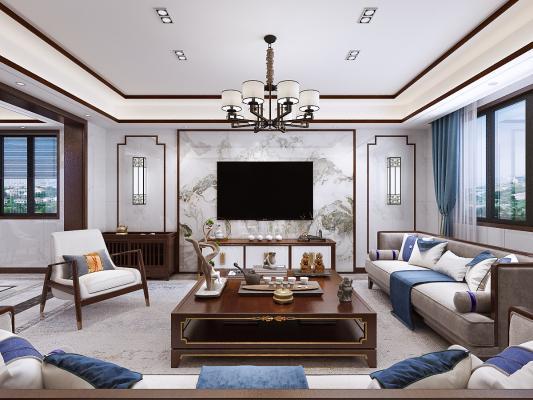 新中式客餐厅 沙发 茶几 餐桌椅