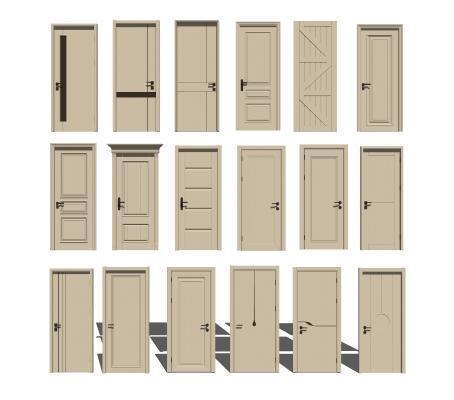 现代实木房门单开门