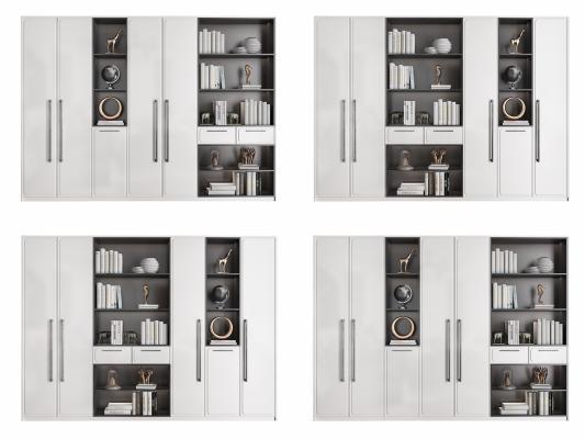 现代实木书柜组合