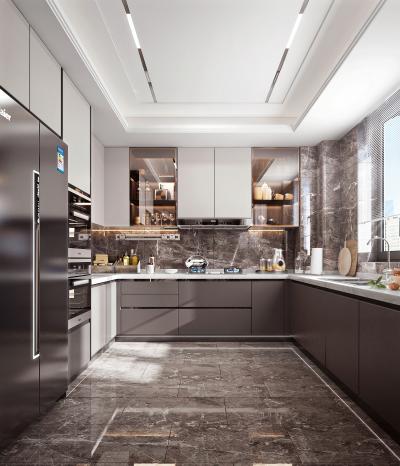 现代风格厨房 冰箱 灶台