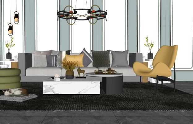 现代沙发茶几组合