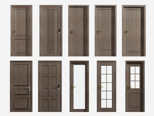 现代实木门 玻璃门组合
