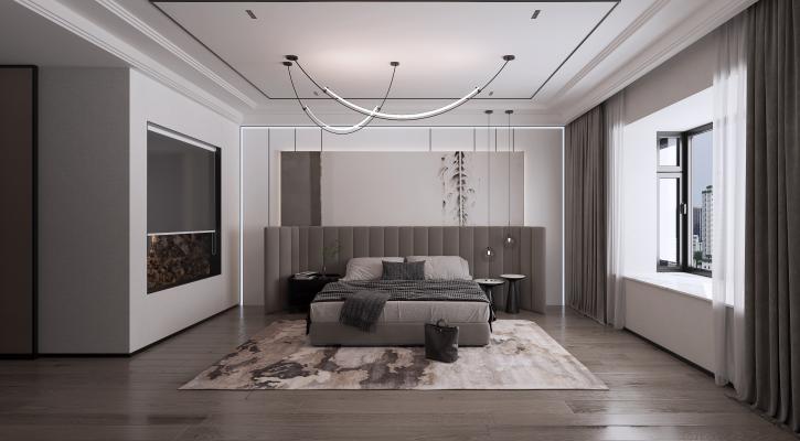 现代卧室 地毯 吊灯