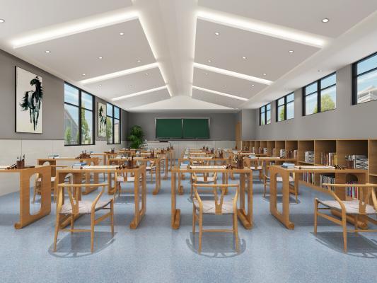 现代教室 挂画 桌椅