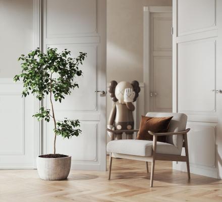 現代休閑單椅 綠植擺件