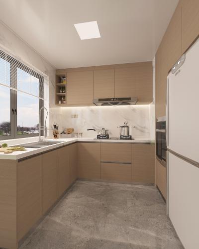 现代厨房 橱柜 冰箱