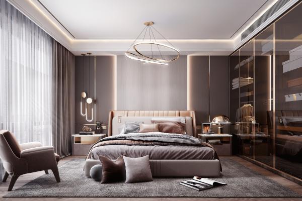 現代風格臥室 雙人床 衣柜