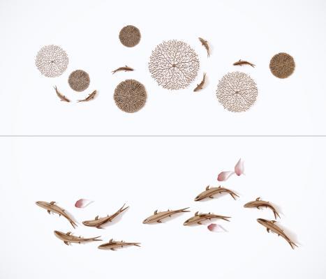 新中式鱼墙饰壁饰组合