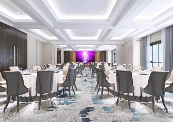 现代风格宴会厅 餐桌椅 地毯