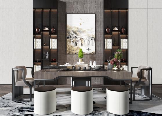 新中式茶室 书桌 椅子
