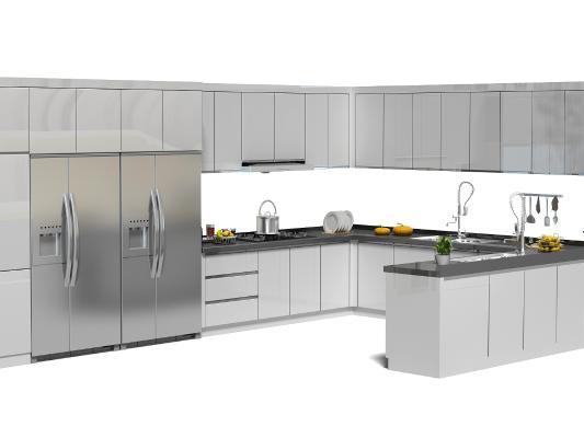 現代廚房櫥柜 冰箱 廚具