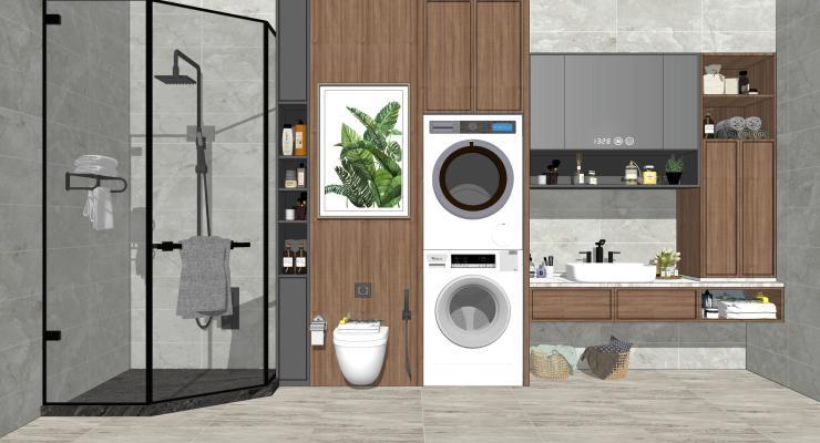 现代家居卫生间 淋浴 马桶