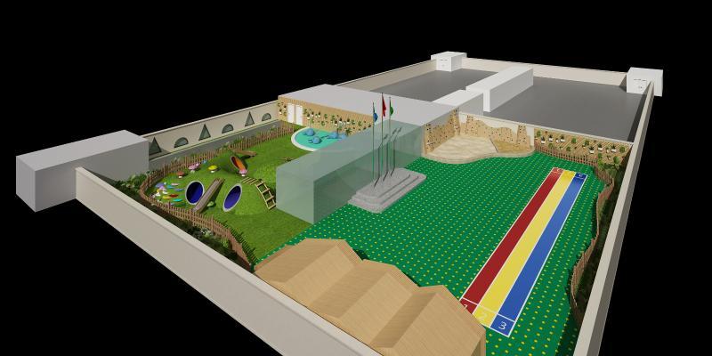 现代鸟瞰 操场 喷泉 种植园