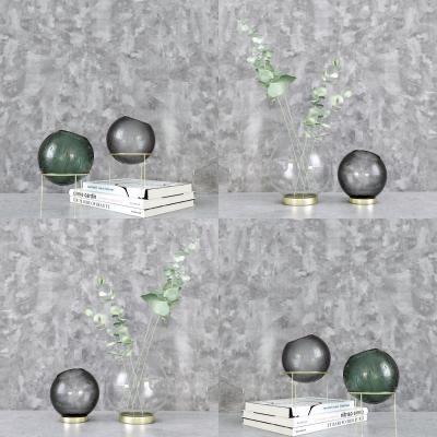 現代花瓶書本擺件組合