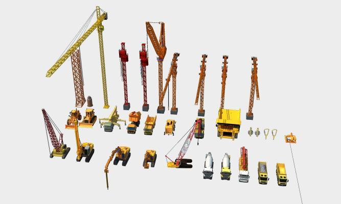 现代工程设备器械组合 吊机 塔吊