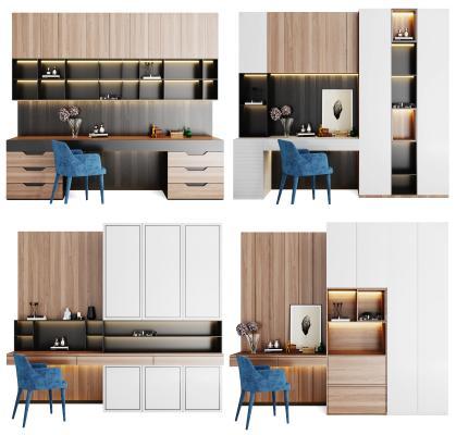 现代风格书桌椅组合 书柜