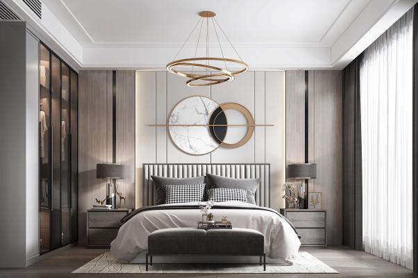 新中式卧室 床品 床头柜 吊灯 床尾凳 台灯 挂饰