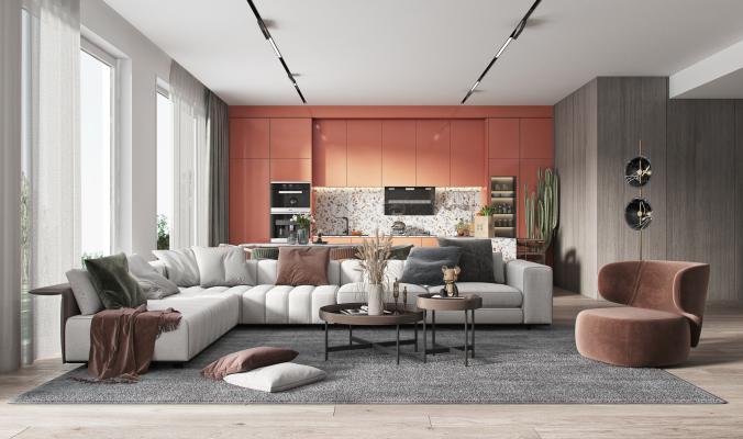 现代客厅 现代沙发茶几组合 现代餐厅