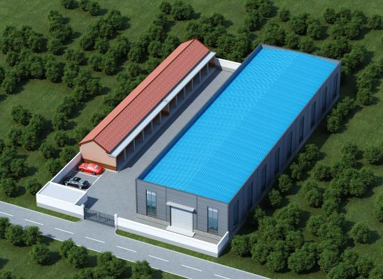 现代工业厂区 瓦房 车间 钢结构