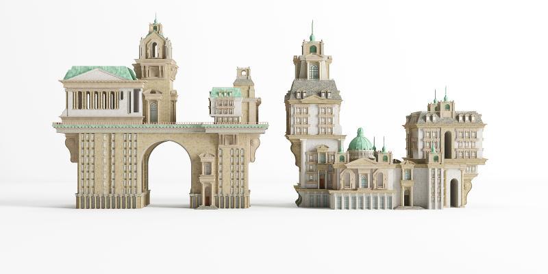 新古典艺术风格建筑 别墅 城堡