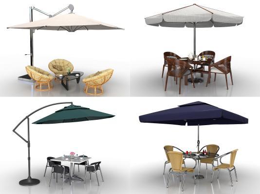 现代户外遮阳伞休闲桌椅藤椅帐篷组合