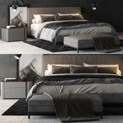现代双人床 床头柜 床 尾凳组合