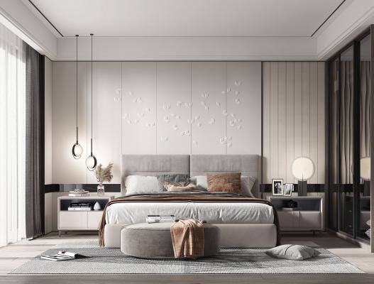 现代卧室 床头柜 衣柜 台灯 吊灯 床尾凳