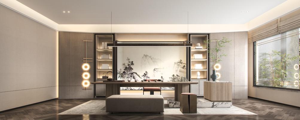 新中式�酒店接待室