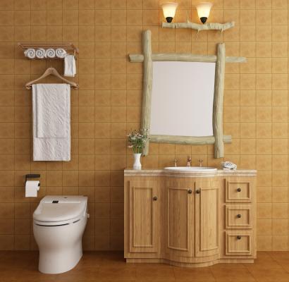 美式洗手台浴室柜马桶组合