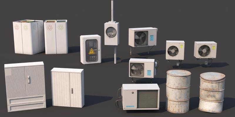 现代空调箱 油桶 电闸箱
