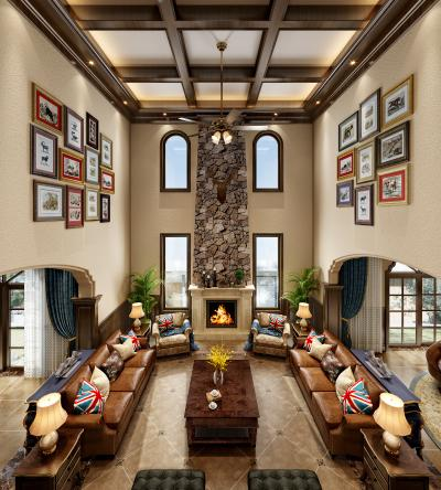美式客厅 沙发组合 茶几