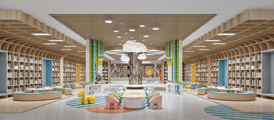现代风格阅读室 图书馆