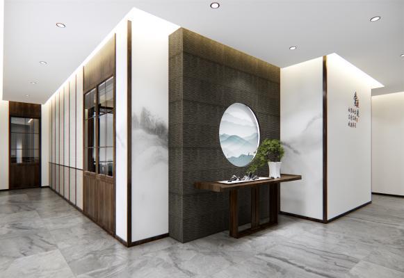 新中式餐厅包间 走廊