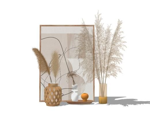 北欧风格摆件组合 干花 花瓶 器皿